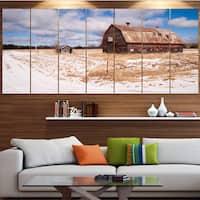 Designart 'Farm Field Barn Ranch' Landscape Wall Artwork - Multi-color