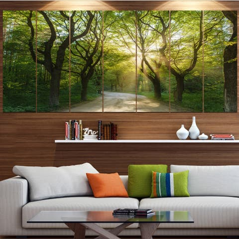 Designart 'Evening in Green Forest' Landscape Wall Artwork on Canvas
