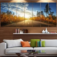 Designart 'Road in Fall Forest Panorama' Landscape Wall Artwork on Canvas