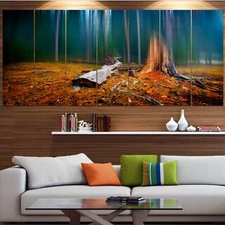 Designart 'Blue Forest on Foggy Morning' Landscape Wall Artwork on Canvas