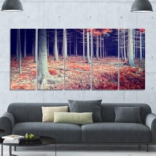 Designart 'Beautiful Fall Forest Panorama' Landscape Wall Artwork on Canvas