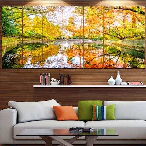Designart 'Bright Fall Forest with River' Landscape Wall Artwork Print on Canvas - Multi-color