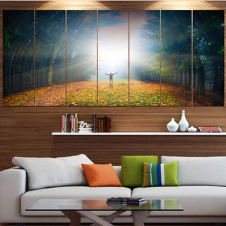 Designart 'Men and Bright Sunlight Panorama' Landscape Wall Artwork on Canvas