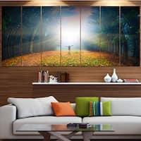 Designart 'Men and Bright Sunlight Panorama' Landscape Wall Artwork on Canvas - Multi-color