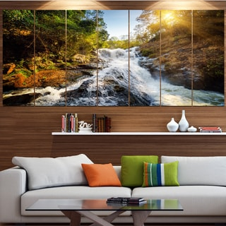 Designart 'Waterfall through the Forest' Landscape Wall Artwork on Canvas