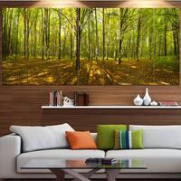 Designart 'Green Autumn Forest Panorama' Landscape Wall Artwork on Canvas - Green