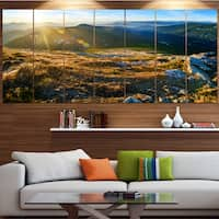 Designart 'Mountains Glowing in Sunlight' Landscape Wall Artwork on Canvas