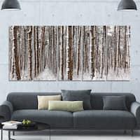 Designart 'Dense Pine Forest in Winter' Landscape Wall Artwork on Canvas