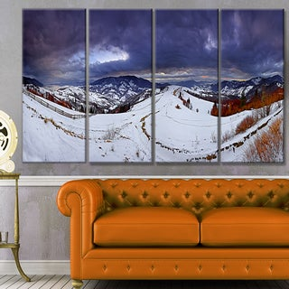 Designart 'Frosty Day in Mountains Panorama' Landscape Wall Artwork on Canvas