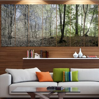 Designart 'Green Morning in Forest Panorama' Landscape Wall Artwork on Canvas