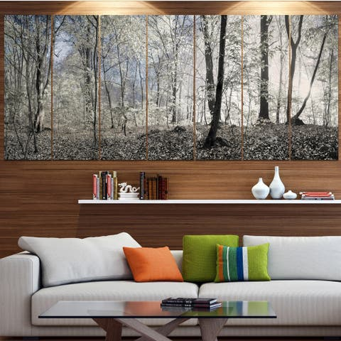 Designart 'Dark Morning in Forest Panorama' Landscape Wall Artwork Print on Canvas - Multi-color