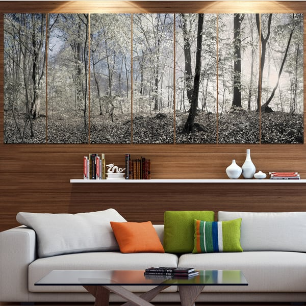 Designart Dark Morning In Forest Panorama Landscape Wall Artwork Print On Canvas Multi Color On Sale Overstock 15325671