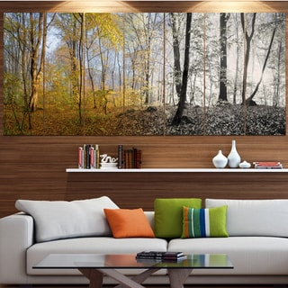 Designart 'Yellow Morning in Forest Panorama' Landscape Wall Artwork on Canvas