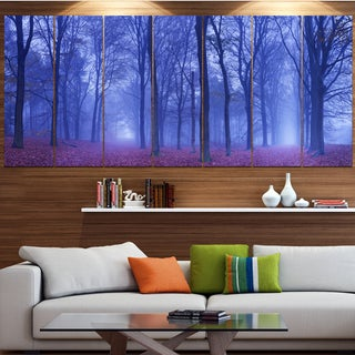 Designart 'Two Paths in Foggy Blue Forest' Landscape Wall Artwork on Canvas