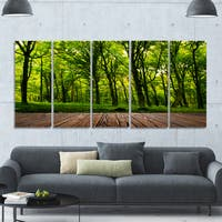 Designart 'Green Forest with Dense Woods' Landscape Wall Artwork on Canvas - Green