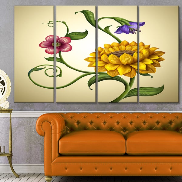 Designart 'Flowers and Leaves Illustration' Modern Floral Canvas Art