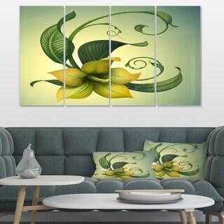 Designart 'Yellow Fantasy Flower' Modern Floral Canvas Art - Thumbnail 0