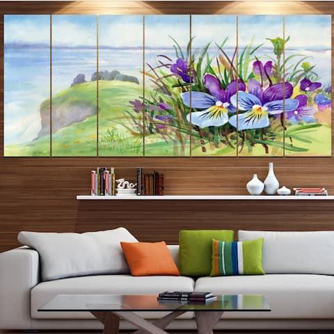 Designart 'Spring Violet Flowers on Mountain' Floral Canvas Wall Artwork - Multi-color