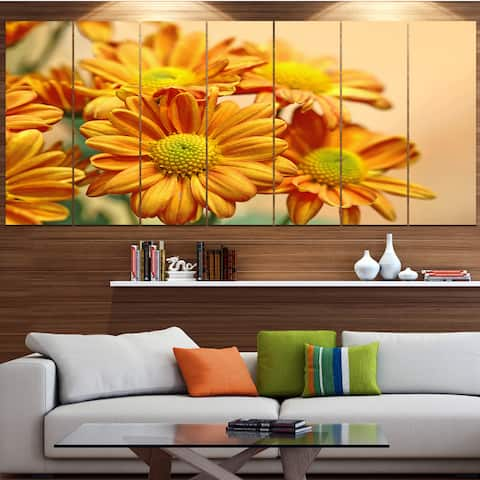 Designart 'Yellow Flowers in the Garden' Floral Canvas Wall Artwork Print - Yellow
