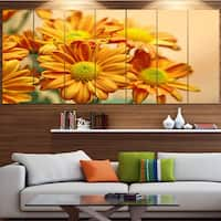 Designart 'Yellow Flowers in the Garden' Floral Canvas Wall Artwork - YELLOW