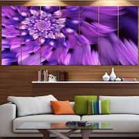 Designart 'Blue Flower Shaped Fractal Art' Floral Canvas Wall Artwork - Blue