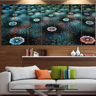 Designart 'Blue Flowers on Alien Planet' Floral Canvas Wall Artwork