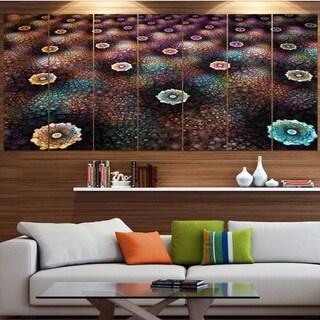Designart 'Brown Flowers on Alien Planet' Floral Canvas Wall Artwork