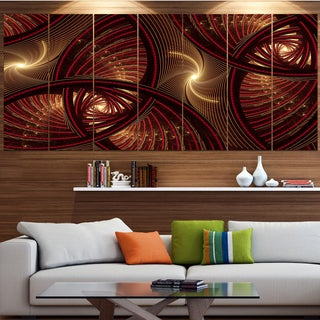 Designart U0027Brown Symmetrical Fractal Patternu0027 Floral Canvas Wall Artwork