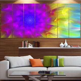 Designart 'Purple Fractal Petals Dandelion' Floral Canvas Wall Artwork