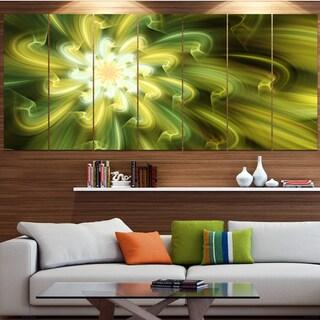 Designart 'Dance of Yellow Fractal Petals' Floral Wall Art on Canvas