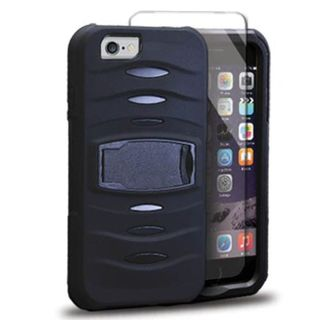 Insten Soft Silicone/ PC Dual Layer Hybrid Rubber Case Cover with Stand/ Screen Protector For Apple iPhone 6/ 6s