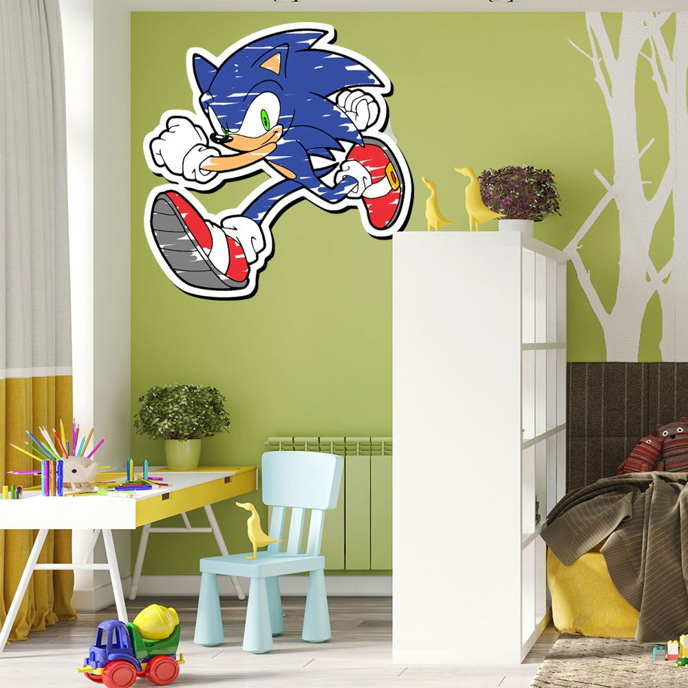 Shop Full Color Sonic Super Hedgehog Cartoon Full Color Wall Decal Sticker Sticker Decal 48 X 48 Overstock 15326377