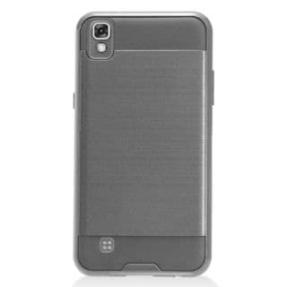 Insten Chrome Hard Plastic Dual Layer Hybrid Brushed Case Cover For LG X Power