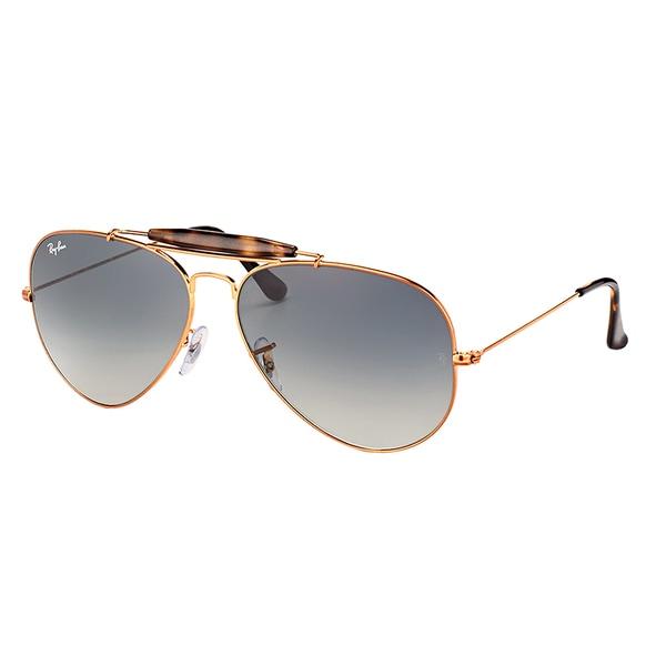 4504b467a1 Ray-Ban RB 3029 197 71 Outdoorsman II Shiny Bronze Metal Aviator Sunglasses  Grey