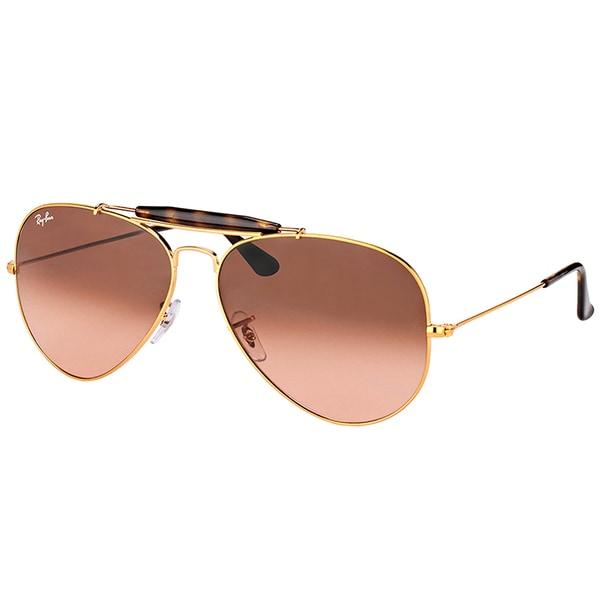 Ray-Ban RB 3029 9001A5 Outdoorsman II Shiny Light Bronze Metal Aviator Sunglasses Pink Gradient Brown Lens