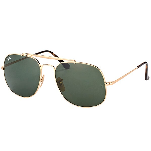 d5af0157f24 Shop Ray-Ban RB 3561 001 General Gold Metal Aviator Sunglasses Green ...