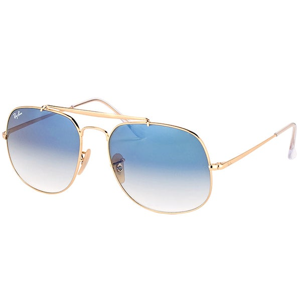 9b691ec02e Ray-Ban RB 3561 001 3F General Gold Metal Aviator Sunglasses Blue Gradient  Lens