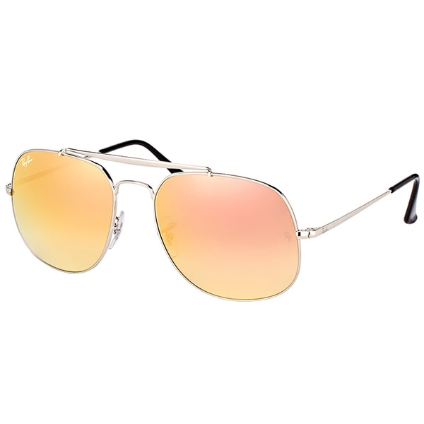 fd9bdb11065 Ray-Ban RB 3561 003 7O General Silver Metal Aviator Sunglasses Pink  Mirrored