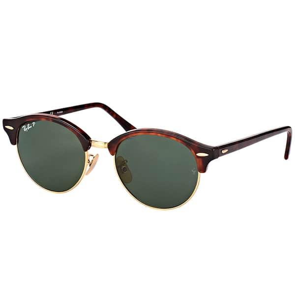16b53f160f1 Ray-Ban RB 4246 990 58 Clubround Red Havana Plastic Round Sunglasses Green  Polarized ...