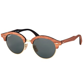 Ray-Ban RB 4246M 118158 Clubround Wood Brown Wood Round Sunglasses Green Polarized Lens