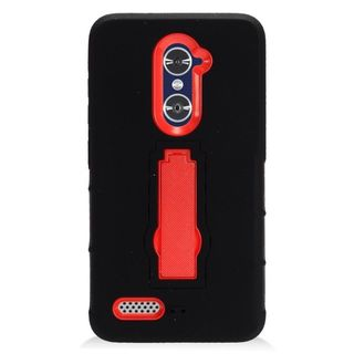Insten Black/ Red Symbiosis Soft Silicone/ PC Rubber Case Cover with Stand For ZTE Zmax Pro