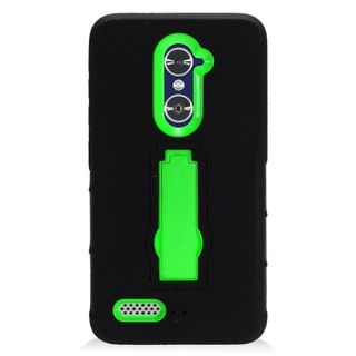 Insten Black/ Green Symbiosis Soft Silicone/ PC Rubber Case Cover with Stand For ZTE Zmax Pro