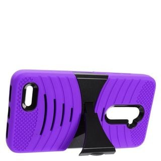 Insten Purple/ Black Wave Symbiosis Soft Silicone/ PC Rubber Case Cover with Stand For ZTE Zmax Pro