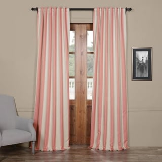 Exclusive Fabrics Striped Blackout Curtain Panel Pair (50X96 - blush & cream)