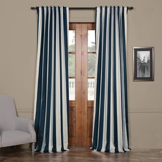 Exclusive Fabrics Striped Blackout Curtain Panel Pair (50X96 - Navy & Cream)