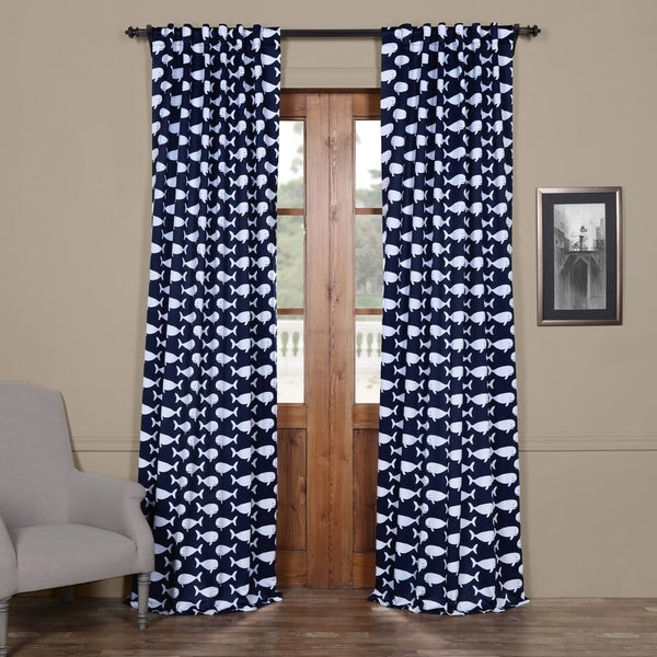 Exclusive Fabrics Migaloo Navy Blackout Curtain Panel Pair