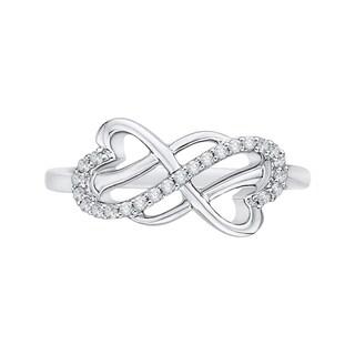 14K White Gold 1/8ct TDW Diamond Double Heart Infinity Ring (J-K, I1-I2)