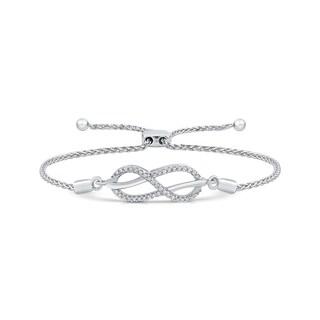 Sterling Silver 1/6ct TDW Diamond Infinity Adjustable Bracelet (J-K, I1-I2)