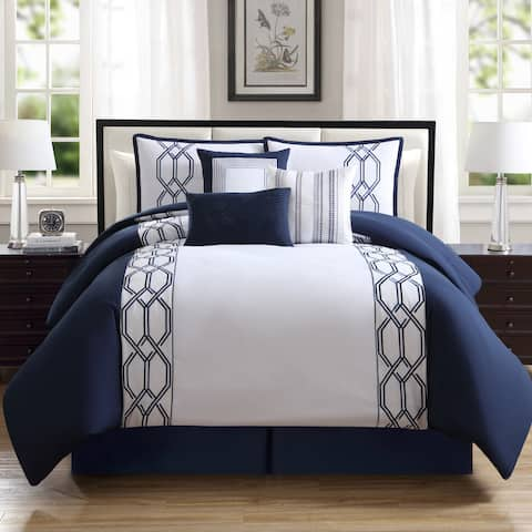 Hamilton Hall Renard Geometric Embroidered 7 Piece Comforter Set