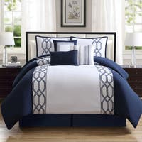 Renard Navy/ White 7-piece Comforter Set